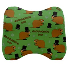 Groundhog Day Pattern Velour Head Support Cushion