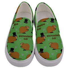 Groundhog Day Pattern Men s Canvas Slip Ons