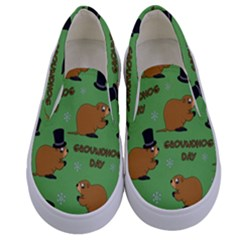Groundhog Day Pattern Kids  Canvas Slip Ons