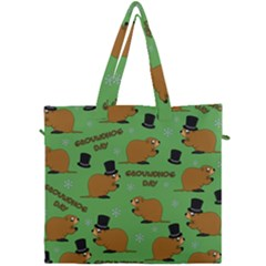 Groundhog Day Pattern Canvas Travel Bag