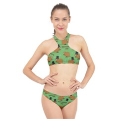 Groundhog Day Pattern High Neck Bikini Set