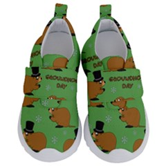 Groundhog Day Pattern Kids  Velcro No Lace Shoes