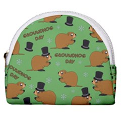Groundhog Day Pattern Horseshoe Style Canvas Pouch