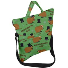 Groundhog Day Pattern Fold Over Handle Tote Bag