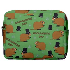 Groundhog Day Pattern Make Up Pouch (large)