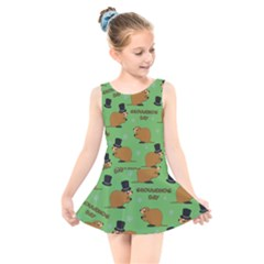 Groundhog Day Pattern Kids  Skater Dress Swimsuit