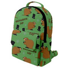Groundhog Day Pattern Flap Pocket Backpack (small)