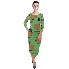 Groundhog Day Pattern Quarter Sleeve Midi Velour Bodycon Dress