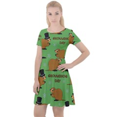 Groundhog Day Pattern Cap Sleeve Velour Dress