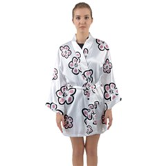 Plum Seamless Flower Long Sleeve Kimono Robe by Mariart