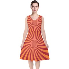 Spiral Swirl Background Vortex V Neck Midi Sleeveless Dress