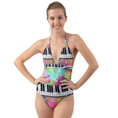 Piano Keys Music Colorful Halter Cut Out One Piece Swimsuit by Mariart