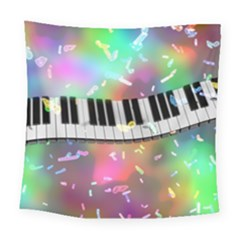 Piano Keys Music Colorful Square Tapestry (large)