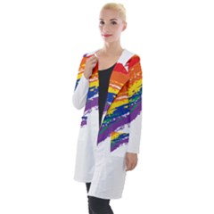 Watercolor Painting Rainbow Hooded Pocket Cardigan