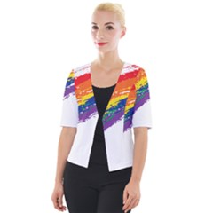 Watercolor Painting Rainbow Cropped Button Cardigan by Mariart
