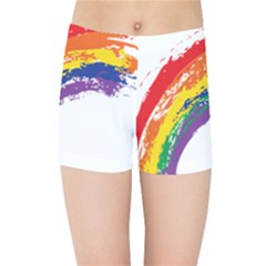 Watercolor Painting Rainbow Kids  Sports Shorts