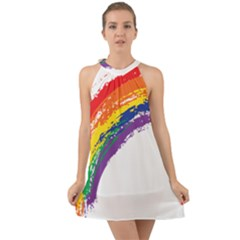Watercolor Painting Rainbow Halter Tie Back Chiffon Dress by Mariart