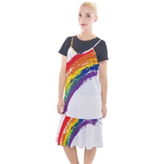 Watercolor Painting Rainbow Camis Fishtail Dress
