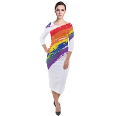 Watercolor Painting Rainbow Quarter Sleeve Midi Velour Bodycon Dress by Mariart