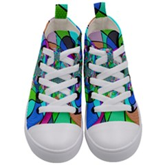 Retro Wave Background Pattern Kids  Mid Top Canvas Sneakers