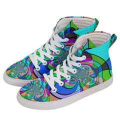Retro Wave Background Pattern Women s Hi Top Skate Sneakers by Mariart