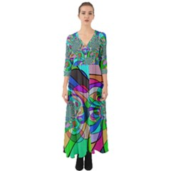 Retro Wave Background Pattern Button Up Boho Maxi Dress by Mariart