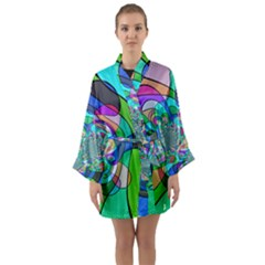 Retro Wave Background Pattern Long Sleeve Kimono Robe by Mariart