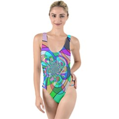 Retro Wave Background Pattern High Leg Strappy Swimsuit