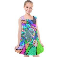 Retro Wave Background Pattern Kids  Cross Back Dress by Mariart