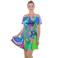 Retro Wave Background Pattern Off Shoulder Velour Dress by Mariart