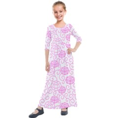 Peony Spring Flowers Kids  Quarter Sleeve Maxi Dress by Mariart