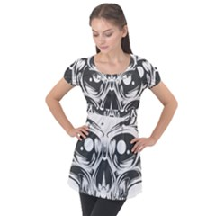 Illustration Skull Puff Sleeve Tunic Top by AnjaniArt