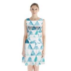 Hipster Triangle Pattern Sleeveless Waist Tie Chiffon Dress