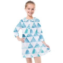 Hipster Triangle Pattern Kids  Quarter Sleeve Shirt Dress by AnjaniArt