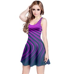Line Geometric Blue Pink Reversible Sleeveless Dress