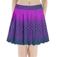 Line Geometric Blue Pink Pleated Mini Skirt