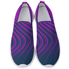 Line Geometric Blue Pink Men s Slip On Sneakers by AnjaniArt