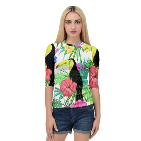 Leaves Tropical Nature Green Plan Quarter Sleeve Raglan Tee by AnjaniArt