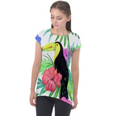 Leaves Tropical Nature Green Plan Cap Sleeve High Low Top