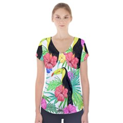 Leaves Tropical Nature Green Plan Short Sleeve Front Detail Top