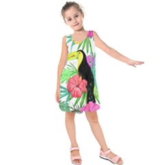 Leaves Tropical Nature Green Plan Kids  Sleeveless Dress