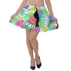 Leaves Tropical Nature Green Plan Velvet Skater Skirt