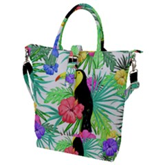 Leaves Tropical Nature Green Plan Buckle Top Tote Bag by AnjaniArt