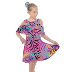 Illustration Reason Leaves Kids  Shoulder Cutout Chiffon Dress