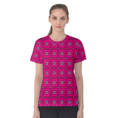 Pink Pattern Squares Women s Cotton Tee