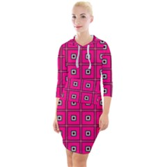 Pink Pattern Squares Quarter Sleeve Hood Bodycon Dress
