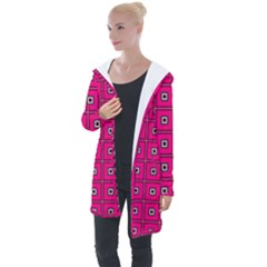 Pink Pattern Squares Longline Hooded Cardigan by AnjaniArt