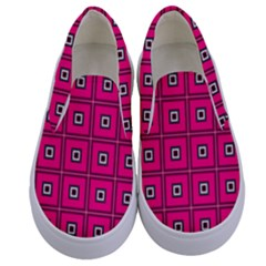 Pink Pattern Squares Kids  Canvas Slip Ons