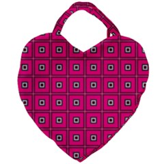 Pink Pattern Squares Giant Heart Shaped Tote by AnjaniArt