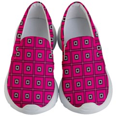 Pink Pattern Squares Kids  Lightweight Slip Ons by AnjaniArt
